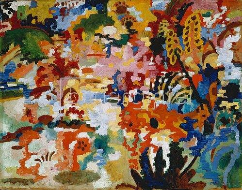 August Macke: Farbige Komposition II. (großer Blumenteppich). 1912