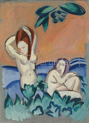 August Macke: Nackte Mädchen auf Blumenwiese. 1912.