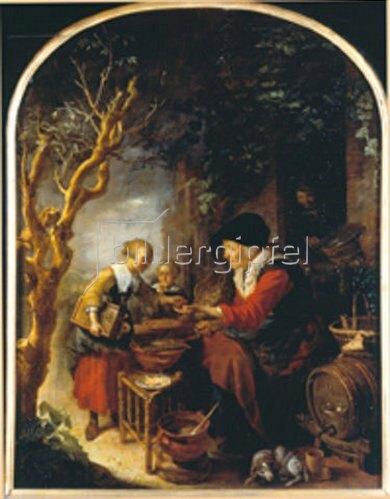 Gerrit (Gerard) Dou: Die Pfannkuchen-Verkäuferin.