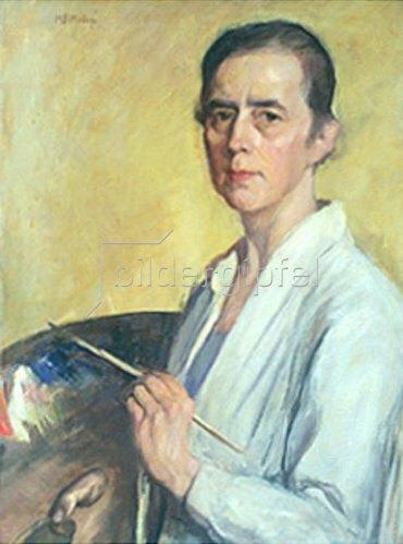 Mathilde Battenberg: Selbstbildnis mit Palette und Pinsel.
