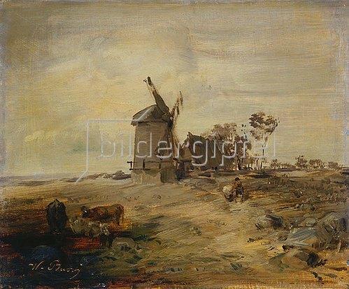 Wilhelm Busch: Landschaft mit Windmühle (oder: Flachlandschaft).