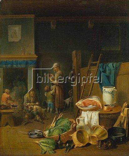 Justus Juncker: Kücheninterieur mit Stillleben im Vordergrund. 1765