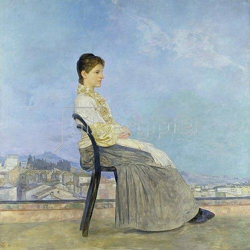 Max Klinger: Auf der Terrasse (Römerin auf einem flachen Dach). 1891