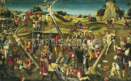 Süddeutscher Meister: Szenenabfolge der Kreuzigung Christi. Ca. 1500
