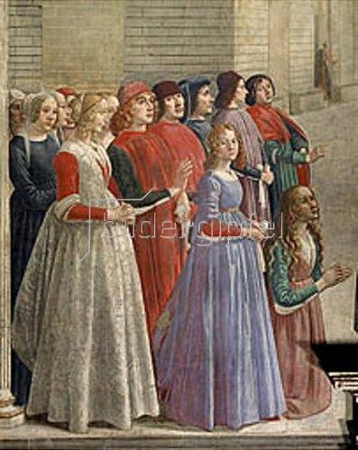 Domenico (T.Bigordi) Ghirlandaio: Gruppe von Männern und Frauen, ein Wunder beobachtend. Detail 1483/1486
