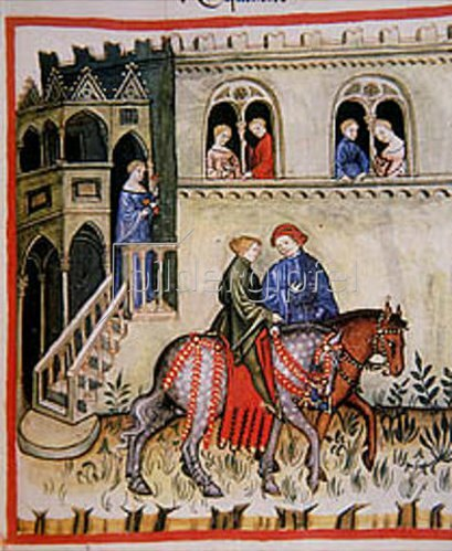 Handschrift: Reiter vor einem Palast. Miniatur aus dem Codex Vindobonesis Series Nova 2644