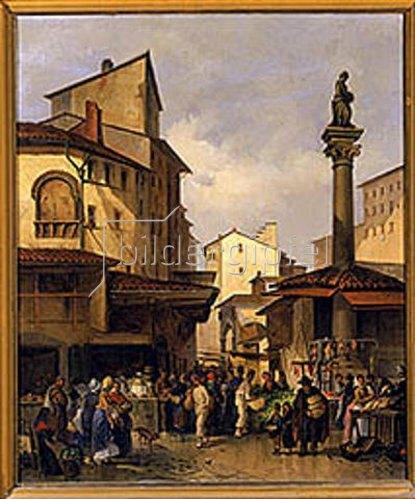 Giuseppe Moricci: Alter Marktplatz in Florenz, 1878.