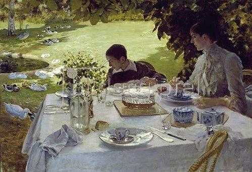 Giuseppe de Nittis: Frühstück im Garten. 1883