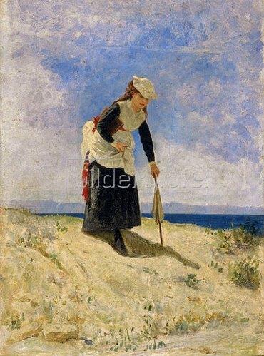 Giuseppe de Nittis: Frau am Strand. 1870.