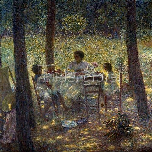 Plinio Nomellini: Mutter mit Kindern, mittags am Gartentisch.