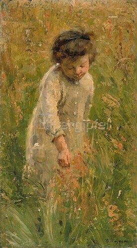 Bertha Wegmann: Kind beim Blumen pflücken.
