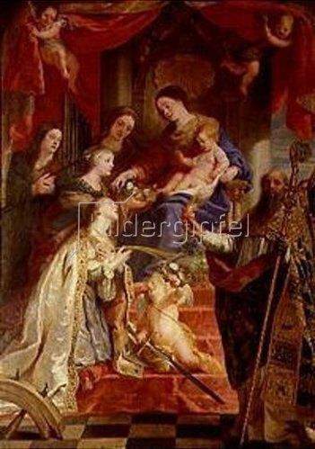 Gaspard de Crayer: Maria mit dem Kind und den hll. Maria- Magdalena, Cäcilia,Dorothea,Katharina und Augustus.