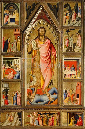 Giovanni (di Niccolo) del Biondo: Der Hl. Johannes, umgeben von elf Szenen seines Lebens.