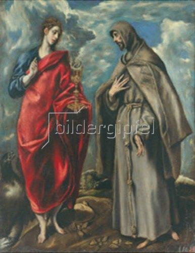 Greco El (Dominikos Theotokopoulos): Die Hll. Johannes Ev. Und Franzikus.