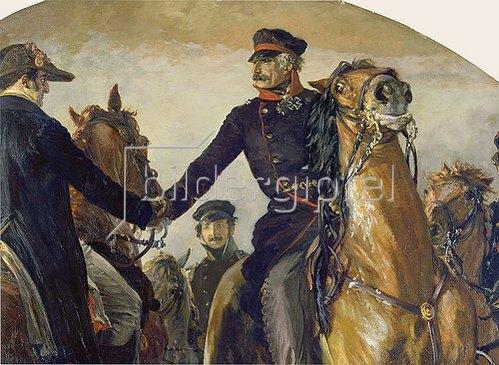 Adolph von Menzel: Detail aus: Blüchers Begegnung mit Wellington nach der Schlacht bei Belle-Alliance. 1858
