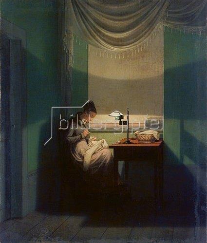 Georg Friedrich Kersting: Junge Frau, beim Schein einer Lampe nähend. 1828