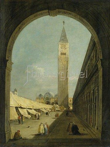 Giacomo Guardi: Der Markusplatz in Venedig mit dem Campanile.