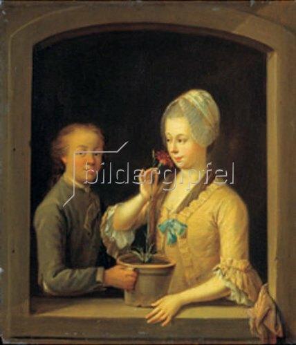 Johann Andreas Herrlein: Frau und junger Mann mit einem Nelkentopf am Fenster.
