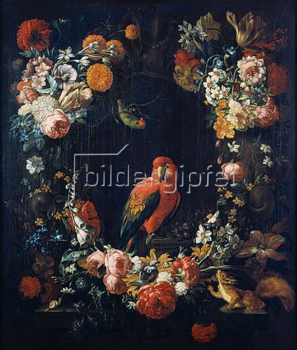 Gaspar Peeter d.J Verbruggen: Blumenstück mit Papagei.