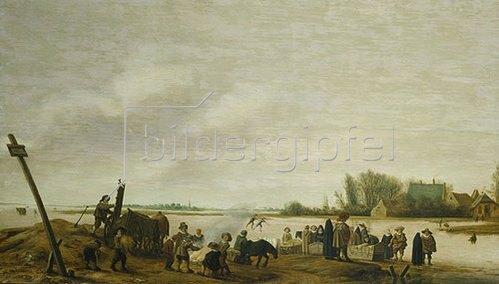 Salomon van Ruysdael: Winterlandschaft am Wasser. 1627