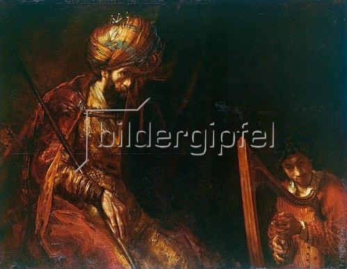 Rembrandt van Rijn: David spielt auf der Harfe vor Saul. 1658/1659