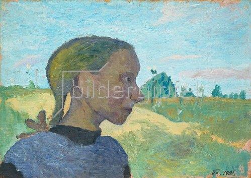 Paula Modersohn-Becker: Mädchenbildnis im Profil vor Landschaft. 1901