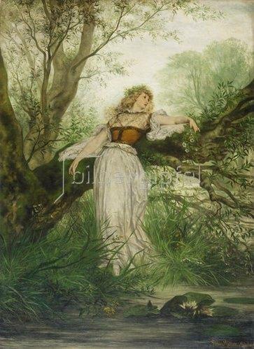 Victor Müller: Ophelia am Weidenbaum. Um 1869/71