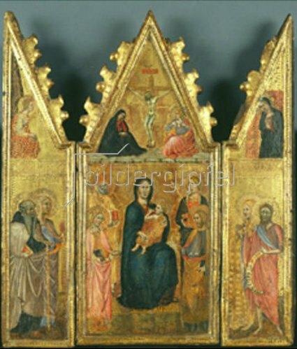Cristoforo di Bindoccio: Triptychon mit Madonna, Kreuzigung Christi und versch. Heiligen.