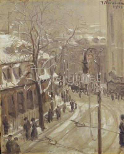 Jakob Nussbaum: Winterliches Frankfurt an der Hauptwache. 1901