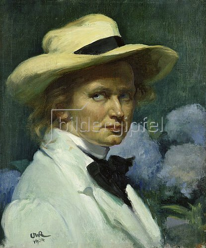 Ottilie Roederstein: Selbstbildnis mit weissem Hut. 1904.