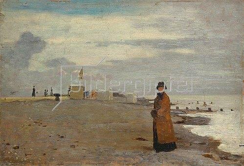 Otto Franz Scholderer: Dame am Strand.