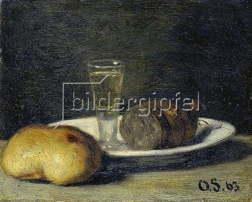 Otto Franz Scholderer: Frühstücks-Stillleben mit Schnapsglas. 1863