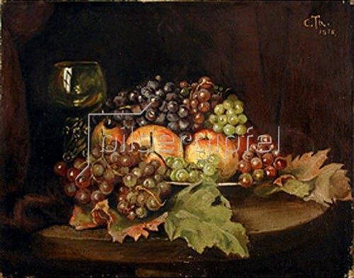 Cella Thoma: Stillleben mit Weintrauben, Äpfeln und Weinglas.