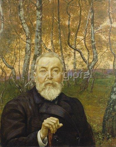Hans Thoma: Selbstbildnis vor Birkenwald. 1899