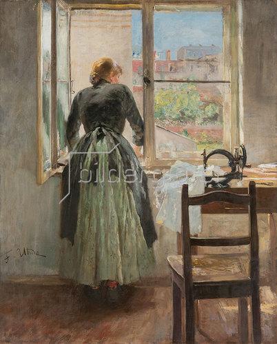 Fritz von Uhde: Mädchen am Fenster.