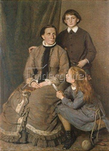Chr. Wunibald Angilbert Göbel: Die Frau des Künstlers mit zwei Kindern. 1879.