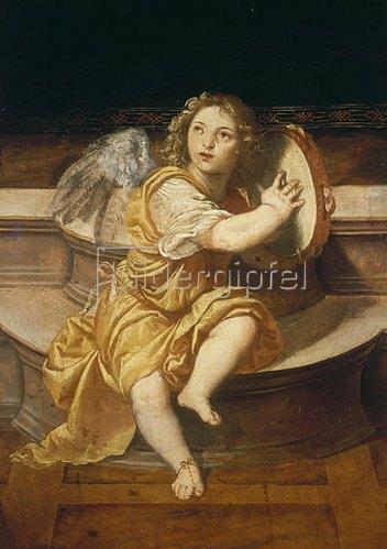 Tizian (Tiziano Vecellio): Engel mit Tamburin. 1510/1576.