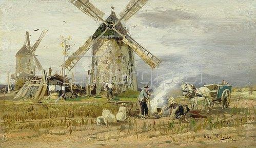 Hugo Mühlig: Kartoffelfeuer vor der Mühle. 1884.