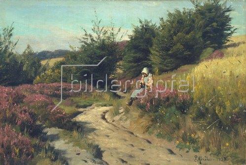 Peder Moensted: Strickendes Mädchen in der Heide. 1908