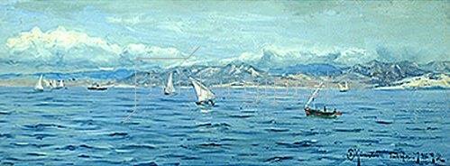 Peder Moensted: Segelboote bei Gebraltar. 1892.