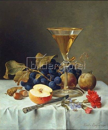 Emilie Preyer: Früchtestillleben mit Weinglas. 1874.