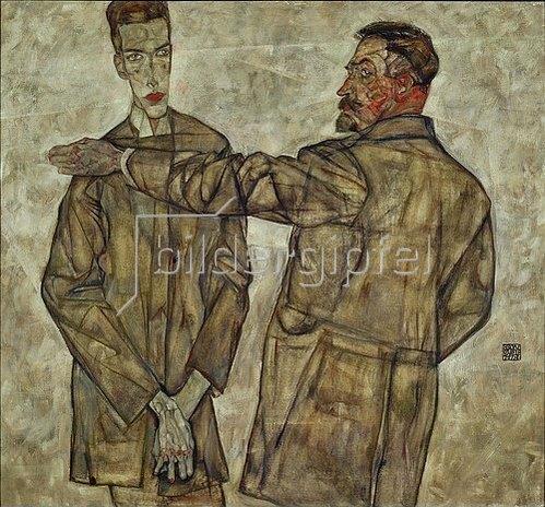 Egon Schiele: Doppelbildnis (Zentralinspektor Heinrich Benesch und sein Sohn Otto). 1913.