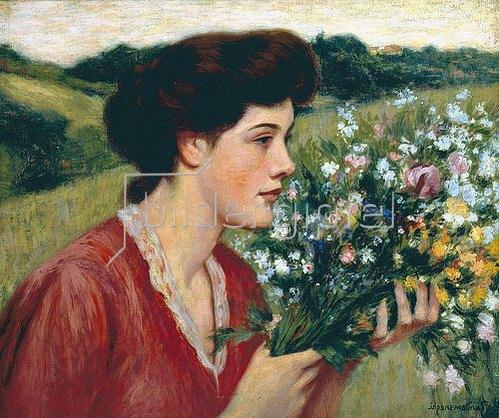 Federico Zandomeneghi: Junges Mädchen mit Blumenstrauss.