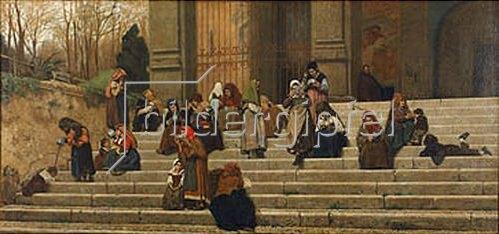 Federico Zandomeneghi: Bettler auf der Treppe des Convents dell` Aracoeli in Rom. 1872.