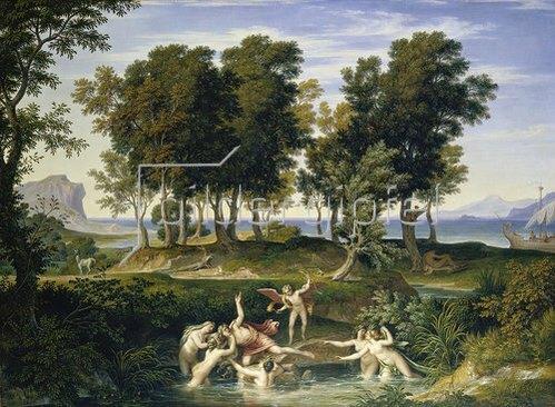 Joseph Anton Koch: Landschaft mit dem Raub des Hylas durch die Nymphen.