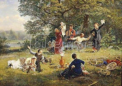 Alexej Korsuchin: Sonntagsvergnügen auf der Waldwiese. 1884.