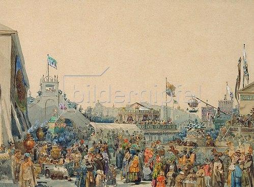 Wassily Sadovnikov: Schaubuden auf dem Admiralitätsplatz in St.Petersburg. 1849.