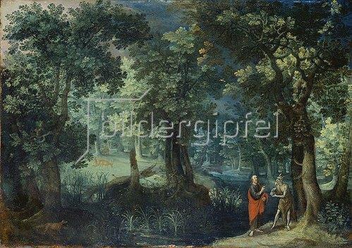 Antonis Mirou: Waldlandschaft mit der Versuchung Christi. 1607