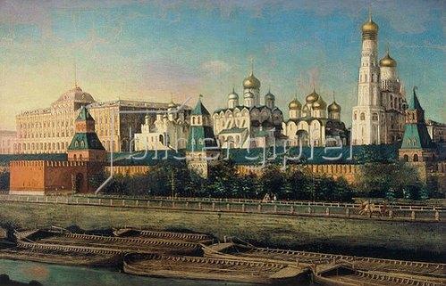 Nikolai I Podkljutschnikoff: Blick über den Fluss zum Moskauer Kreml.
