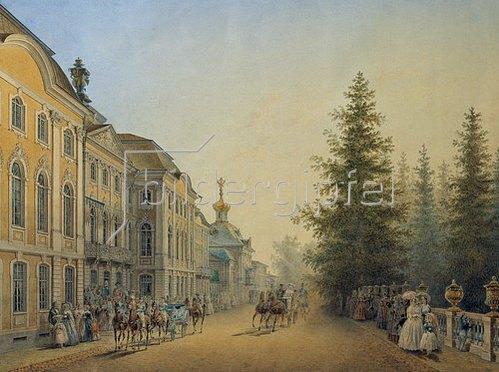 Wassily Sadovnikov: Abfahrt der Kutschen vor dem Hauptportal des Grossen Palastes. 1852.